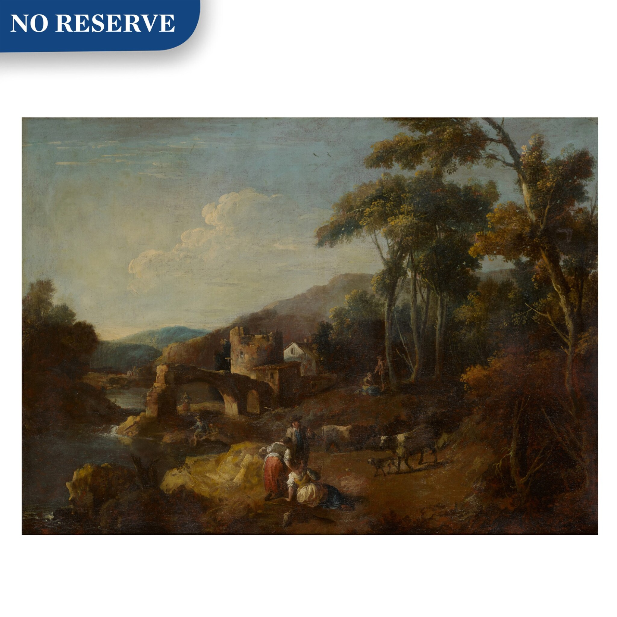 View full screen - View 1 of Lot 98. A wooded river landscape with ruins and figures.