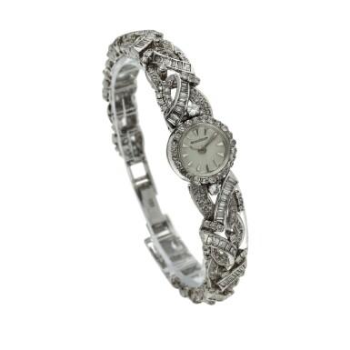 View 3. Thumbnail of Lot 160. A lady's white gold and diamond-set backwind wristwatch, Circa 1960.