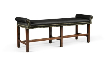 View 6. Thumbnail of Lot 82. A pair of George III mahogany two-seat benches, circa 1800.
