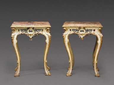 View 2. Thumbnail of Lot 180. A pair of South Italian carved parcel-gilt and painted console tables, Neapolitan, circa 1760.