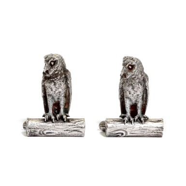 View 1. Thumbnail of Lot 33. A pair of Victorian silver owl pepperettes , George Heath & Co., London, 1891.