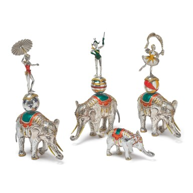 ELEPHANTS: A GROUP OF SILVER AND ENAMEL CIRCUS FIGURES, DESIGNED BY GENE MOORE FOR TIFFANY & CO., NEW YORK, CIRCA 1990