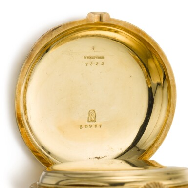 View 5. Thumbnail of Lot 92. GIRARD-PERREGAUX, CHAUX-DE-FONDS [芝柏,拉紹德封] | A RARE AND HEAVY GOLD HUNTING CASED KEYLESS ONE-MINUTE TOURBILLON WATCH WITH PIVOTED DETENT CHRONOMETER ESCAPEMENT,  CIRCA 1890, THREE BRIDGE TOURBILLON [罕有黃金一分鐘陀飛輪懷錶備天文鐘擒縱系統,年份約1890,三橋陀飛輪].