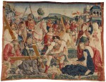 THE ROAD TO CALVARY, A RARE FLEMISH NEW TESTAMENT BIBLICAL TAPESTRY FRAGMENT, NETHERLANDS, POSSIBLY TOURNAI, FROM THE SERIES OF THE LIFE OF CHRIST AND THE VIRGIN, DESIGNER UNKNOWN, EARLY 16TH CENTURY, CIRCA 1505-1516