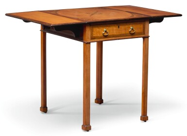 View 1. Thumbnail of Lot 107.  A GEORGE III SATINWOOD AND MARQUETRY PEMBROKE TABLE, LATE 18TH CENTURY.
