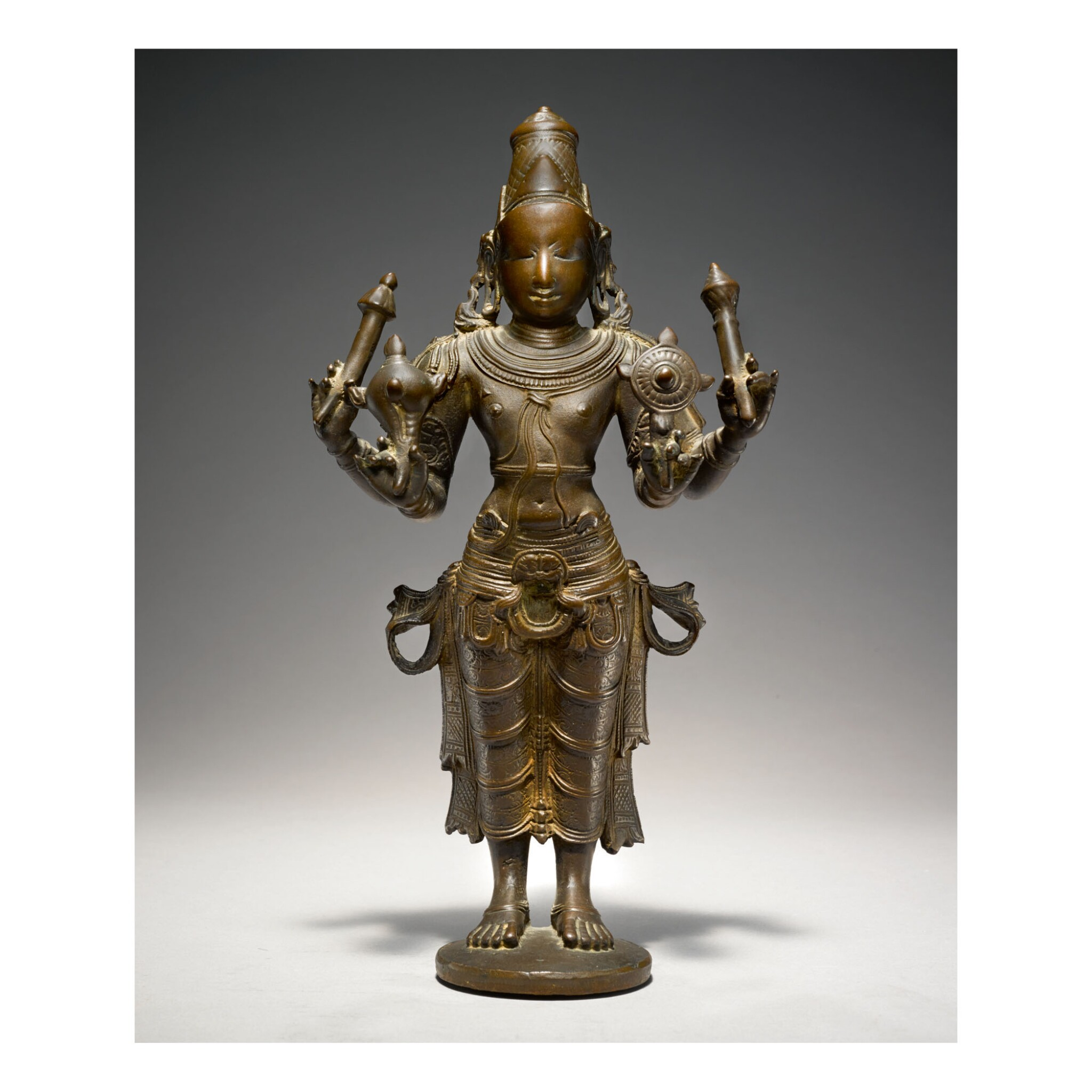 View full screen - View 1 of Lot 357. A COPPER ALLOY FIGURE OF VISHNU SOUTH INDIA, VIJAYANAGAR, 15TH CENTURY.