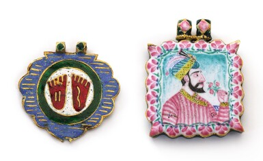 TWO GOLD ENAMELLED PENDANTS, NORTH INDIA, 19TH CENTURY