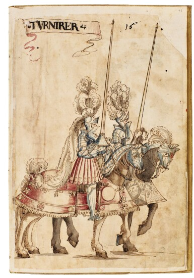 View 15. Thumbnail of Lot 9. WORKSHOP OF HANS BURGKMAIR THE ELDER | A 'TOURNAMENT BOOK', WITH 16 NUMBERED SHEETS OF DRAWINGS OF KNIGHTS, MOSTLY ON HORSEBACK, IN PAIRS .
