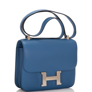 View 2. Thumbnail of Lot 18.  Hermès Bleu Agate Constance 24cm of Swift Leather with Palladium Hardware.