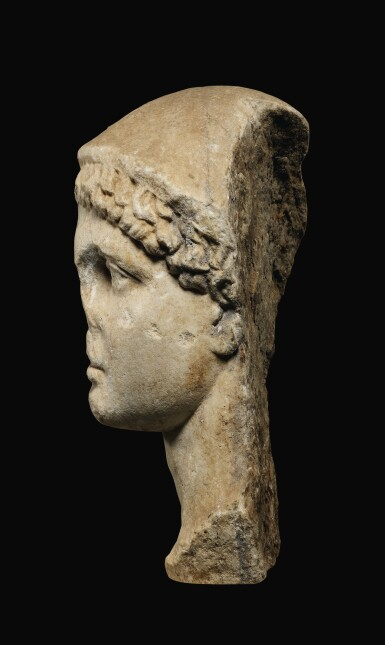 View 3. Thumbnail of Lot 24. A ROMAN MARBLE HEAD OF HERMES, CIRCA 1ST CENTURY A.D..