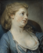 JEAN-BAPTISTE GREUZE | A GIRL IN A BLUE DRESS, BUST-LENGTH AND LEANING BACK ON A CHAIR