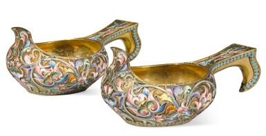 View 1. Thumbnail of Lot 238. A pair of silver-gilt and shaded enamel miniature kovshi, Maria Semenova, Moscow, 1908-1917.