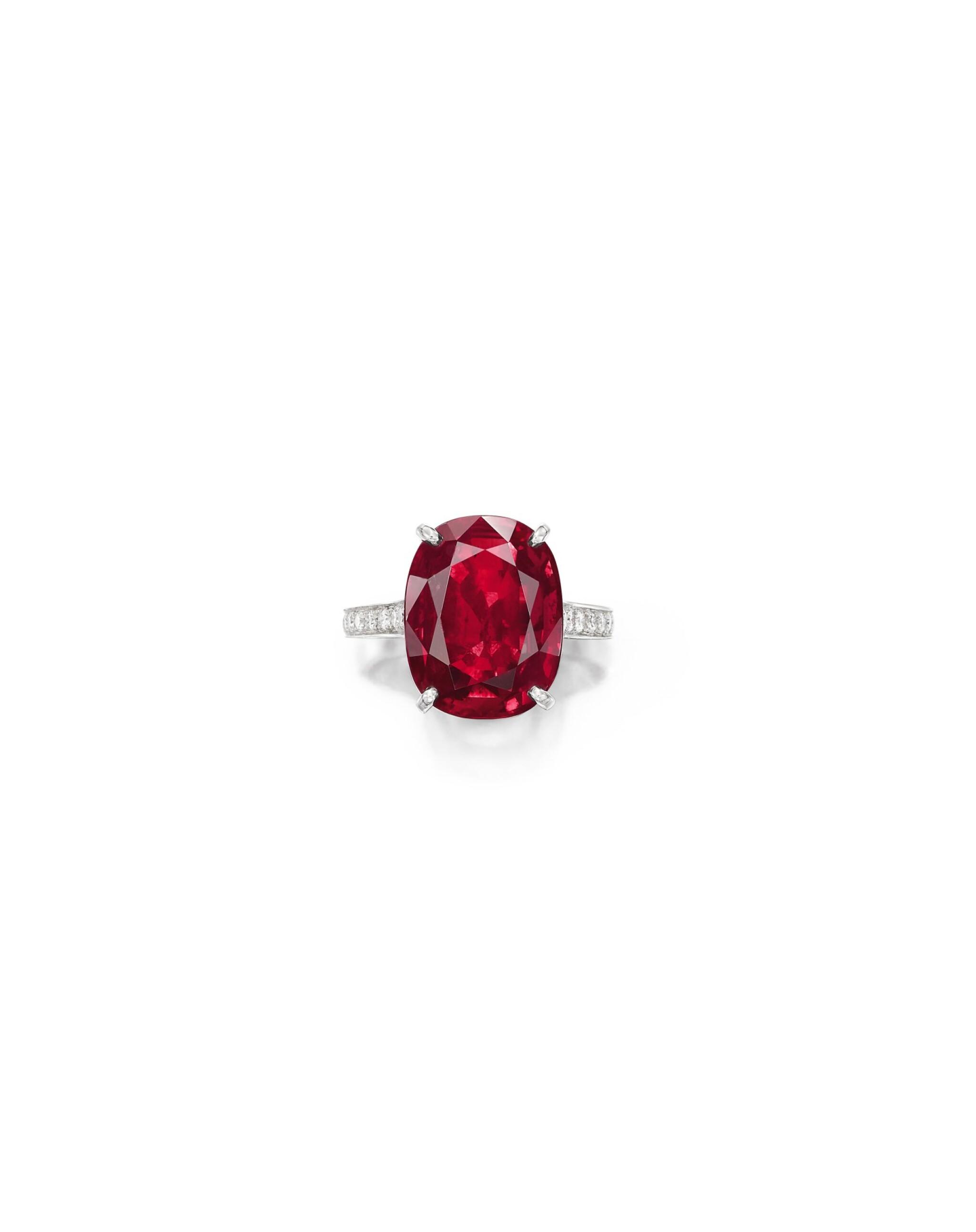 View full screen - View 1 of Lot 1740. Cartier   Ruby and Diamond Ring   卡地亞   9.10克拉 天然「緬甸」紅寶石 配 鑽石 戒指.