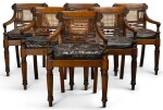 A SET OF SIX ANGLO-INDIAN CANED CARVED TEAK ARMCHAIRS, FIRST-HALF 19TH CENTURY