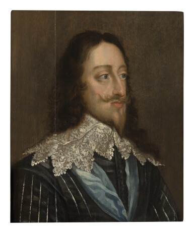 FOLLOWER OF SIR ANTONY VAN DYCK | PORTRAIT OF KING CHARLES I (1600-1649), BUST LENGTH, IN A BLACK DOUBLET AND WHITE LACE COLLAR, WITH THE BLUE GARTER RIBBON AROUND HIS NECK