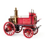 EXCEPTIONAL BRASS AND RED PAINTED MODEL FIRE PUMPER, MAXWELL HEMMENS PRECISION STEAM MODELS, THORGANBY, YORK, ENGLAND, CIRCA 1860