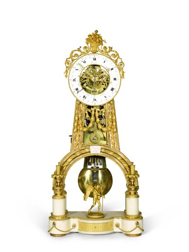 View 1. Thumbnail of Lot 130. A Louis XVI gilt-bronze and white marble skeleton clock with calendar and remontoire, Jean-Simon Bourdier, Paris, dated 1788, the dial by Joseph Coteau.