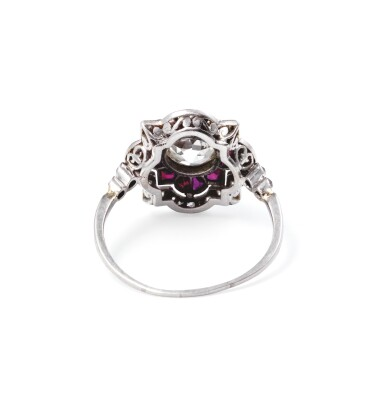 View 3. Thumbnail of Lot 49. Ruby and diamond ring [Bague rubis et diamants], 1930s [vers 1930].