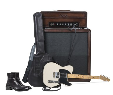 View 1. Thumbnail of Lot 9. Berluti | Amplifier, Guitar with Case and Boots (Ampli, Guitare avec Housse et Bottine) [5 Items / Articles].