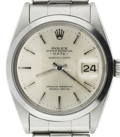 View 7. Thumbnail of Lot 552. ROLEX  |  REFERENCE 1500 DATE  RETAILED BY SERPICO Y LAINO: A STAINLESS STEEL AUTOMATIC WRISTWATCH WITH DATE AND BRACELET, CIRCA 1965.