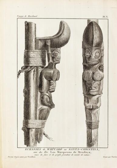 View 4. Thumbnail of Lot 205. FLEURIEU -- [MARCHAND].Voyage autour du monde. An VI - An VIII. 3 vol in-4 et un Atlas in-4. Veau flammé de l'époque.