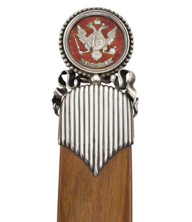 View 3. Thumbnail of Lot 54. A Fabergé silver and guilloché enamel mounted wood paper knife, workmaster Anders (Antti) Nevalainen, St Petersburg, circa 1890.