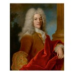 JEAN-BAPTISTE OUDRY   PORTRAIT OF A GENTLEMAN, HALF LENGTH, IN A POWDERED WIG, BEFORE A COLUMN