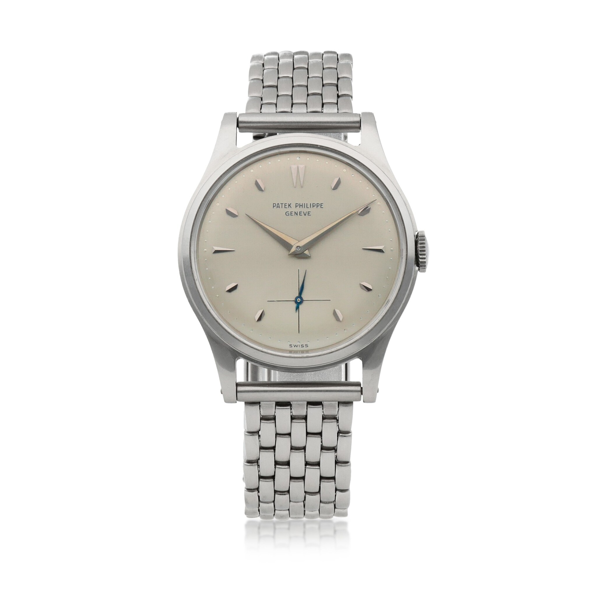 View full screen - View 1 of Lot 71. Ref. 2509 Stainless steel wristwatch with associated bracelet Made in 1954 | 百達翡麗 2509型號精鋼鍊帶腕錶,1954年製.