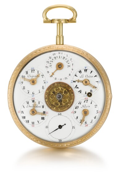 CONTINENTAL  [ 歐洲大陸製]  | AN UNUSUAL GOLD DOUBLE DIALLED CYLINDER WATCH WITH DATE, COMPASS, AND MULTIPLE TIME ZONES  CIRCA 1790  [ 特別黃金雙錶盤懷錶備工字輪擒縱機芯、日期、指南針及不同時區顯示,年份約1790]