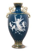 A MINTONS PÂTE-SUR-PÂTE PEACOCK-BLUE-GROUND TWO-HANDLED VASE, 1894