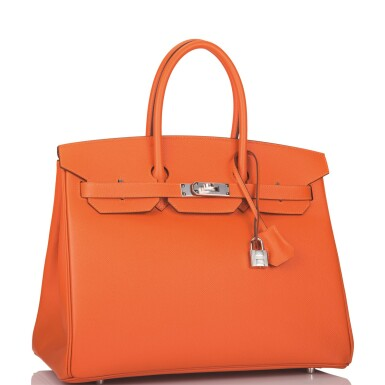 View 2. Thumbnail of Lot 65. Hermès Feu Birkin 35cm of Epsom Leather with Palladium Hardware .