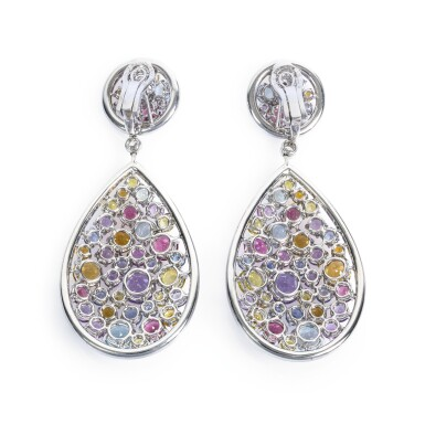 View 4. Thumbnail of Lot 10. Gem set and diamond pendent earrings, Michele della Valle.