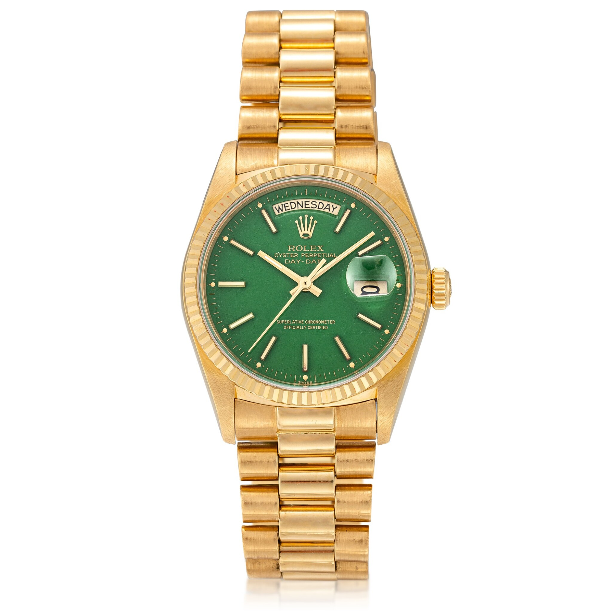 View full screen - View 1 of Lot 54. 'Stella' Day-Date, Ref. 18038 Yellow gold wristwatch with day, date, bracelet and green 'stella' dial Circa 1988   勞力士18038型號「'Stella' Day-Date」黃金鍊帶腕錶備星期、日期顯示及綠色 Stella 錶盤,年份約1988.