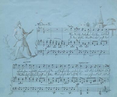"View 2. Thumbnail of Lot 57. F. Mendelssohn. Fine illustrated autograph manuscript of the song ""Wenn die Abendglocken läuten"", 1830."