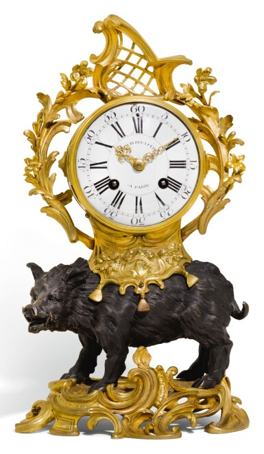 A LOUIS XV-STYLE PATINATED AND GILT-BRONZE WILD BOAR MANTEL CLOCK, PART 18TH CENTURY
