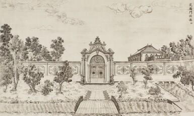 View 38. Thumbnail of Lot 362. A SET OF TWENTY PRINTS OF PALACES, PAVILIONS AND GARDENS AT YUANMING YUAN | 巴黎、1977年 《郎世寧圓明園西洋樓》 一組二十幅 水墨紙本.