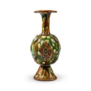 View 3. Thumbnail of Lot 172. A rare sancai-glazed pottery bottle vase, Tang dynasty   唐 三彩貼花瓶.