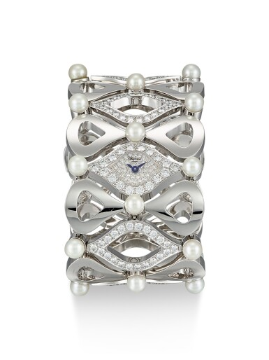 CHOPARD | PUSHKIN, REFERENCE 10/6749-20, A WHITE GOLD, DIAMOND AND PEARL-SET BRACELET WATCH, CIRCA 1999