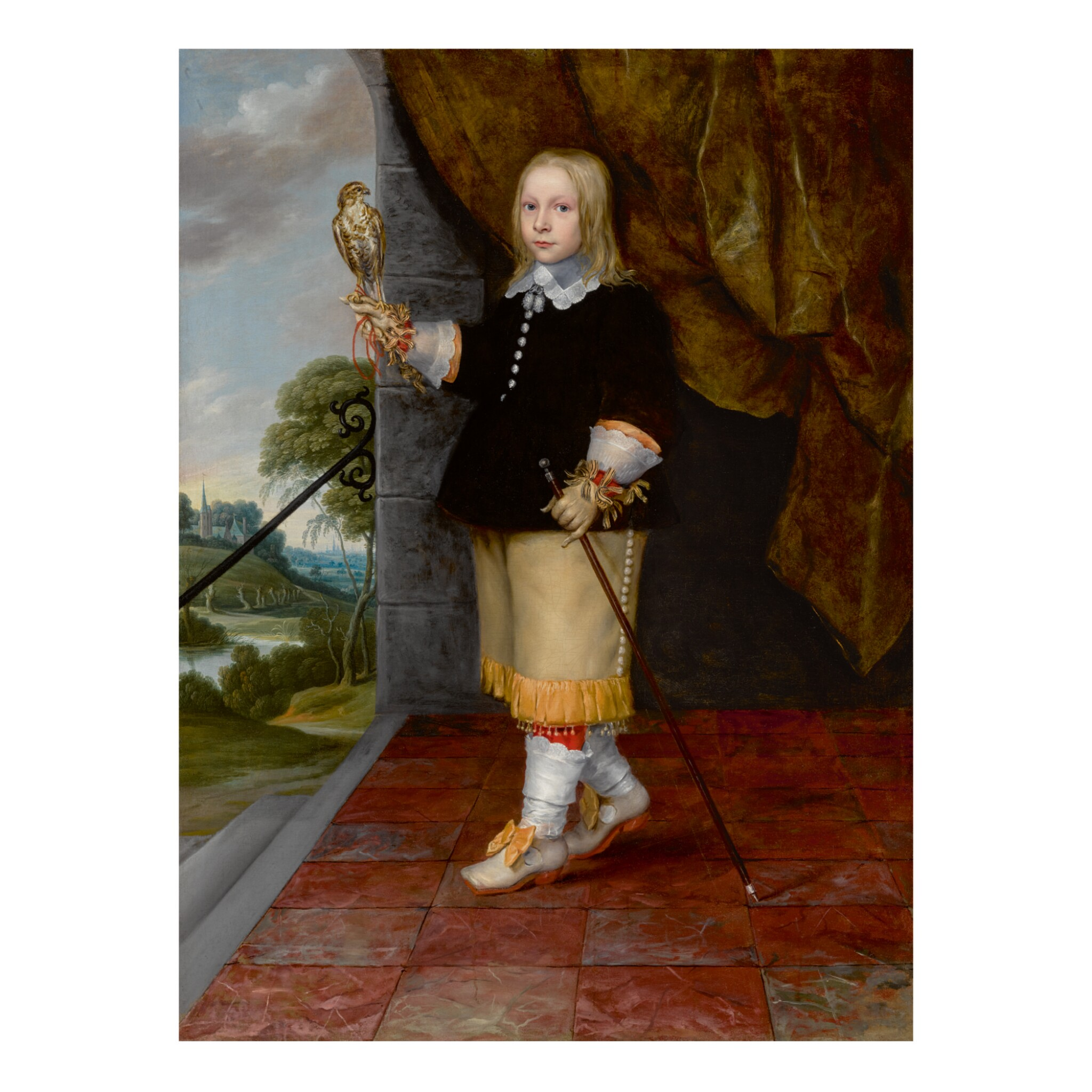 View full screen - View 1 of Lot 34. LUDOLF DE JONGH | PORTRAIT OF A YOUNG BOY, FULL LENGTH, HOLDING A KESTREL   .