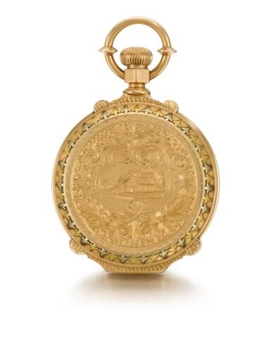 AMERICAN WATCH CO., WALTHAM  [ American Watch Co., 沃爾瑟姆]  | A VARI-COLOUR GOLD HUNTING CASED LEVER WATCH WITH LOCOMOTIVE SCENE AND BOX-HINGES    CIRCA 1886, MODEL 1872, NO. 1392908  [ 多色黃金懷錶飾火車頭場景,年份約1886,型號1872,編號1392908]