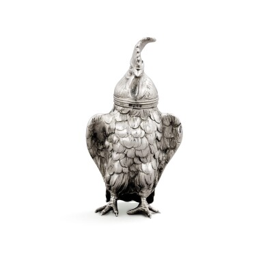View 1. Thumbnail of Lot 10. A German silver novelty pepper in the form of a cockerel, Hanau, circa 1890, sponsor's mark of Berthold Muller, English import marked for London, 1896,.
