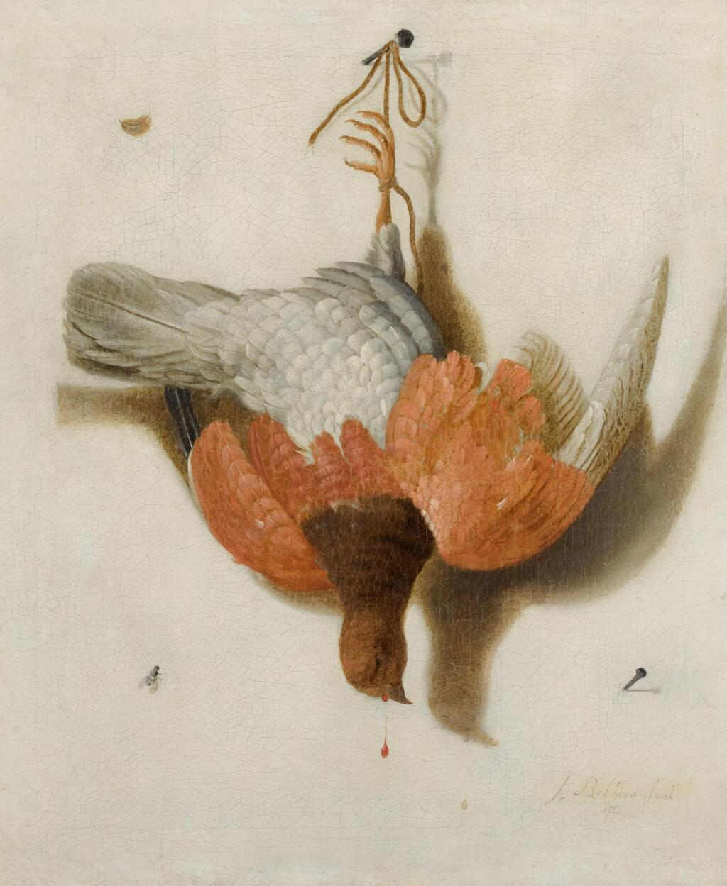 JACOBUS BILTIUS | A trompe l'œil with a willow ptarmigan hanging from a nail