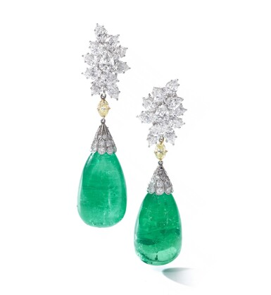 View 1. Thumbnail of Lot 107. Harry Winston | Pair of impressive emerald and diamond ear clips.