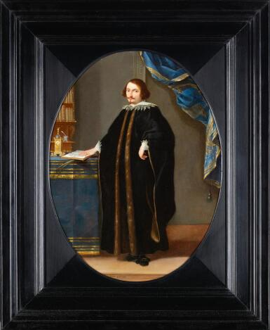 FLEMISH SCHOOL, CIRCA 1640 | A portrait of a physician in his study, wearing a fur-trimmed cloak and resting his hand on an anatomy book laid out on a table with other books and a fine ormolu clock