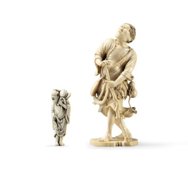 View 1. Thumbnail of Lot 80. An ivory netsuke study of Chokwaro Sennin, Japan, Edo period, 18th century.