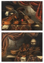 Still life with musical instruments and a red drapery;  Still life with musical instruments and a globe