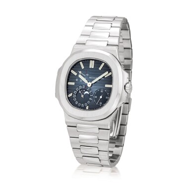 View 2. Thumbnail of Lot 2080. Patek Philippe | Nautilus, Reference 5712, A stainless steel bracelet watch with date, moon phases and power reserve indication, Circa 2007 | 百達翡麗 | Nautilus 型號5712   精鋼鏈帶腕錶,備日期、月相及動力儲備顯示,約2007年製.