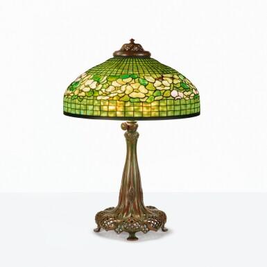 "View 1. Thumbnail of Lot 10. TIFFANY STUDIOS | ""BANDED DOGWOOD"" TABLE LAMP."