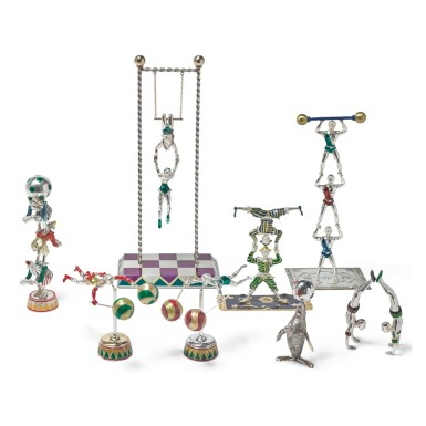 ACROBATS: A GROUP OF SILVER AND ENAMEL CIRCUS FIGURES, DESIGNED BY GENE MOORE FOR TIFFANY & CO., NEW YORK, CIRCA 1990