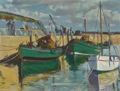 MAURICE JOSEPH MACGONIGAL, P.R.H.A. | FISHING BOATS AT CLOGERHEAD